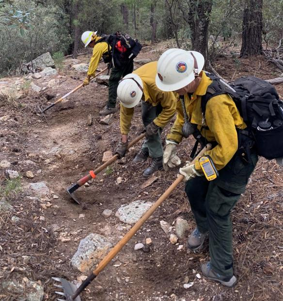 Three firefighters in yellow shirts and white helmets use tools to scrape a trail