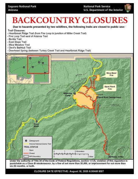 map showing trail closures