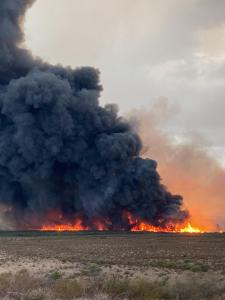 Heavy Black Smoke rises from flames as brush burns in the Gila River Bottom