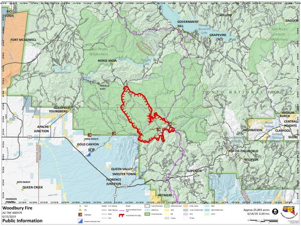 Fire Location Map June 15, 2019