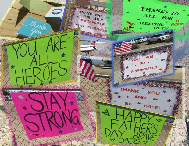A montage of Thank you firefighter signs