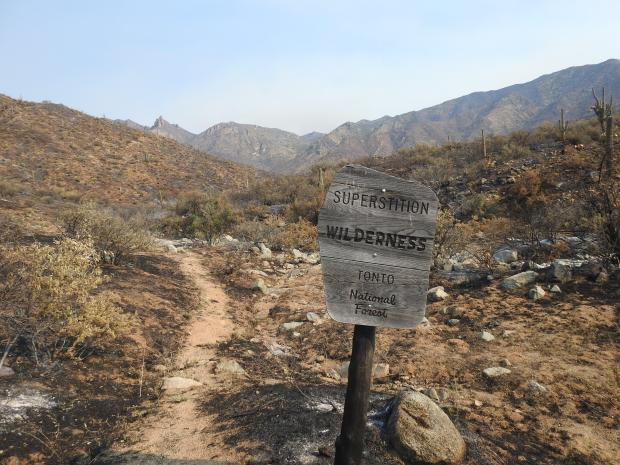 Photograph of the Superstition Wilderness trail entrance sign with burned hilly area behind it.