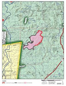 Map showing the Verde Fire perimeter for 8/8/2019