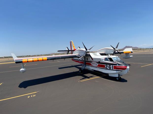 A plane known as a super scooper is assigned to fight the Bush Fire.