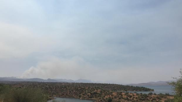 Looking west from Roosevelt. With some light smoke south of Tonto Basin and Punkin Center .
