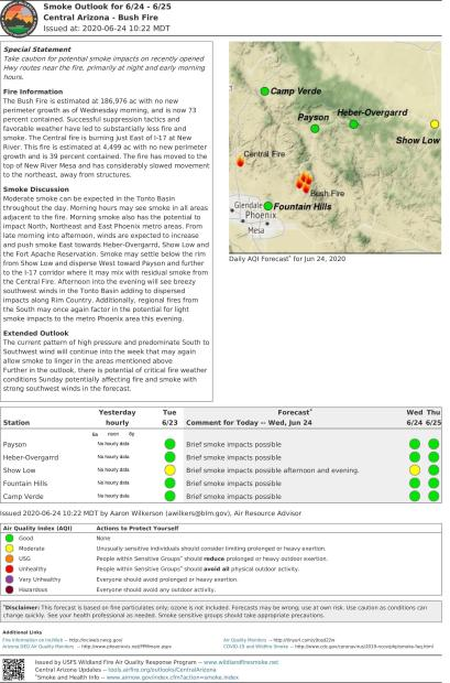 Smoke Outlook Map for 6-24 & 6-25 - full report is available under the Annoucement tab on this page.