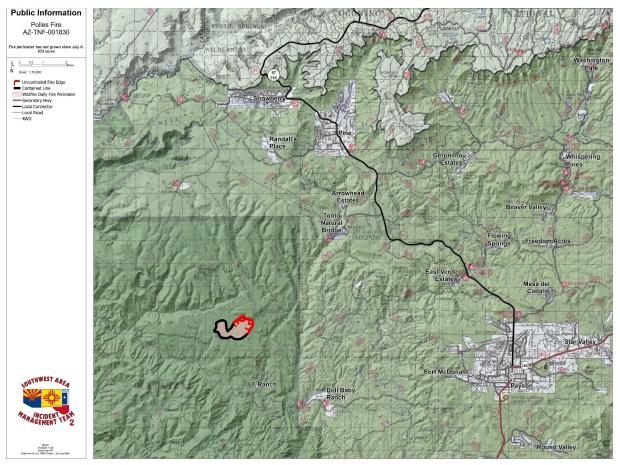 Small perimeter of the fire with red line uncontained lack line contained