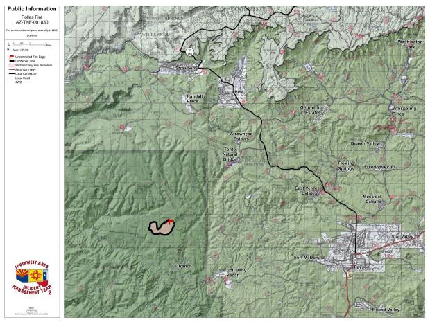 Public Information Map showing areas of containment on the Polles Fire.