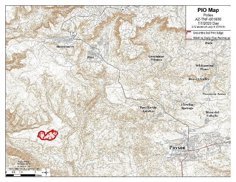 The perimeter of the fire sits in a large map of it