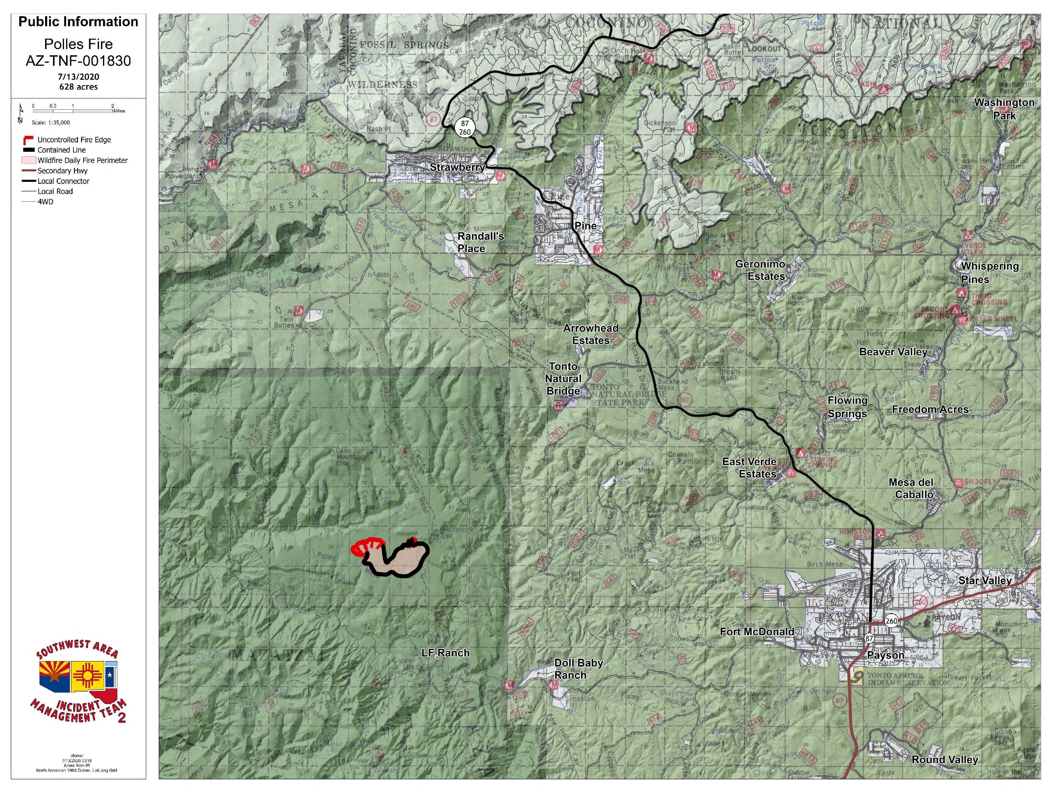 Photo of a map that shows an outlined location on a wildfire
