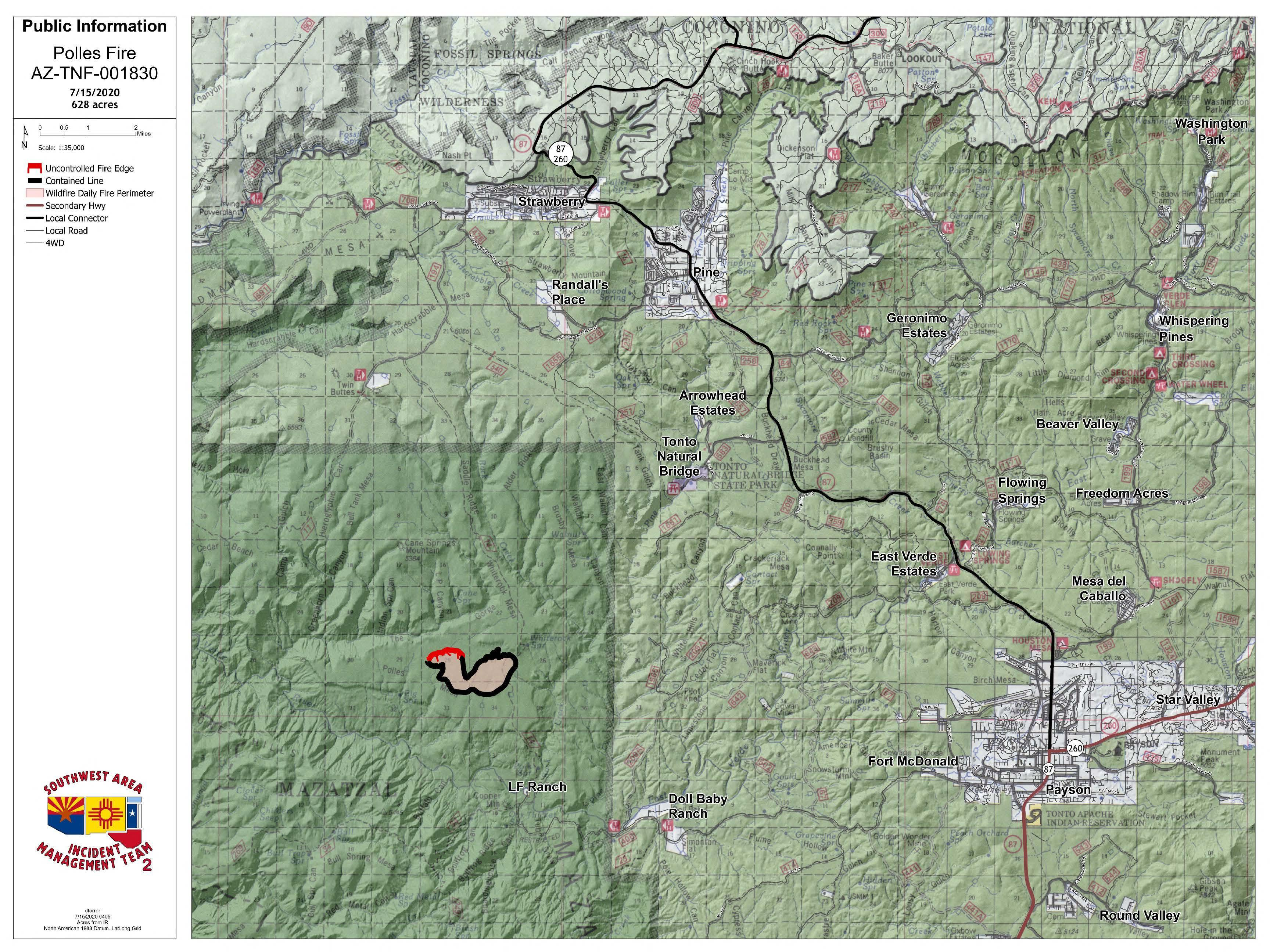 Photo of a map with an outline of a fire location