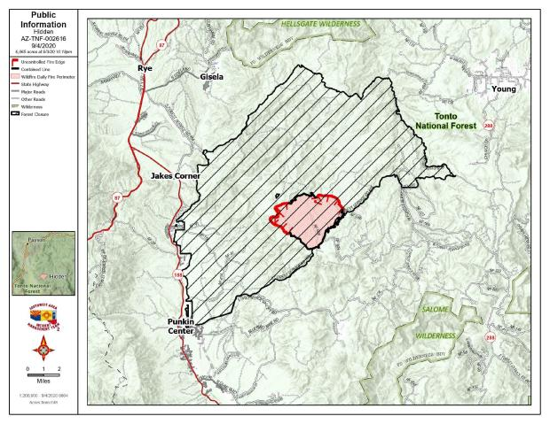 A topographic map showing fire perimeter. Red line is uncontained Fire line. Black is contained line. Crosshatch is public land closed  due to fire.