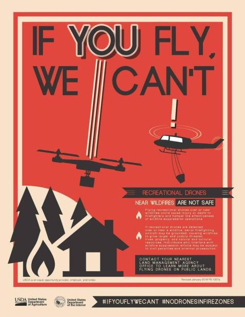 Black on red image about drone prohibitions around fires.