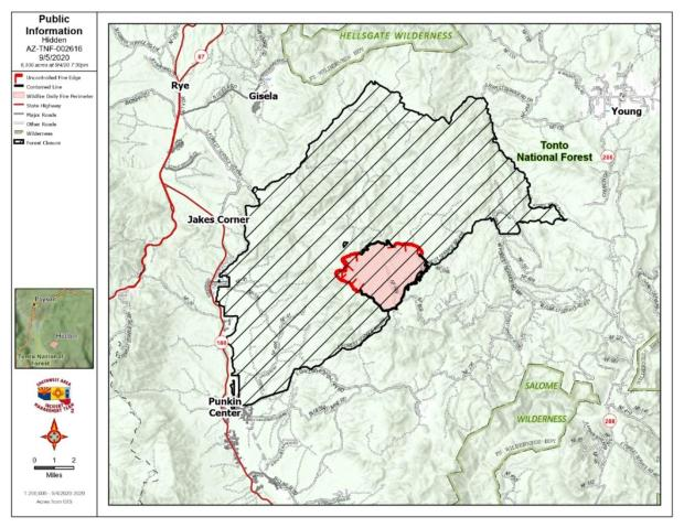 Topographic map showing black containment lines on two different quadrants of the fire.About 45%  of the fire's perimeter is red....meaning uncontained.