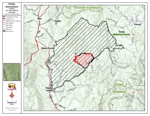 Topographic Map showing fire perimeter bounded by black line indicating contained fire line and red line for uncontained fire line. Cross hatch is closed federal land abutting the fire.