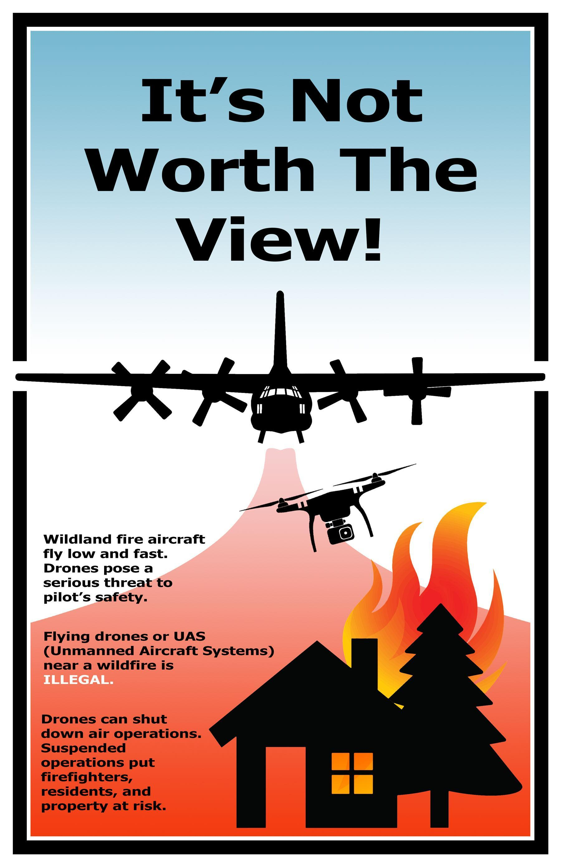 A drone flyies over a house graphic with graphical flames in the background. The Headline is I's not worth the view