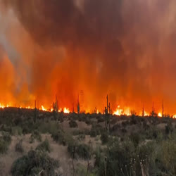 Heavy smoke and flames from the Telegraph Fire move through a mostly shrub and grass landscape. Large powerlines tower over the flames, glowing in this night time image.