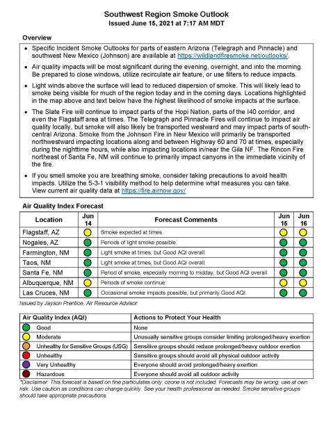 This document  describes the levels of smoke cover over the area influenced by the Telegraph and other fires.egion.
