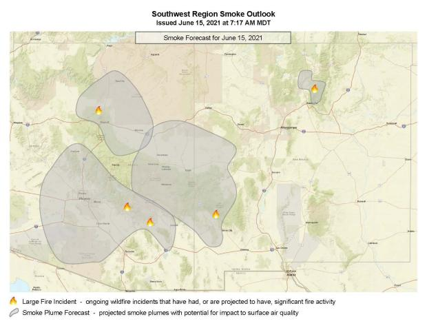 This is a map showing the smoke cover in Eastern Arizona as a result of the Telegraph and other ongoing wildland fires.k Dark tan on lighter tan.