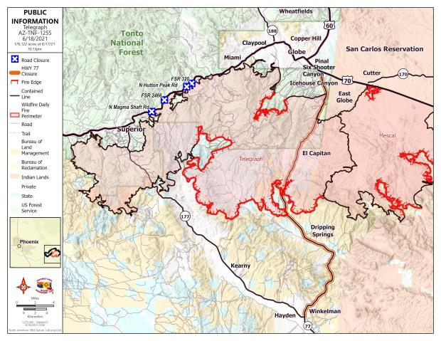 A map showing the fire perimeter of the Telegraph Fire with red lines showing the uncontained fireline.