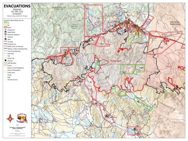 A map showing the evacuation status of communities near the Telegraph Fire