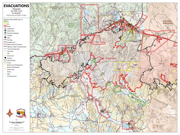 Map of Telegraph Fire showing evacuation status of communities
