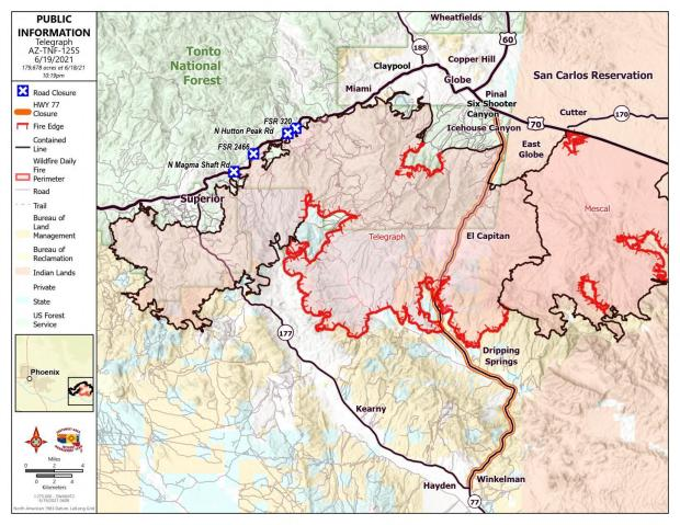 Map showing perimeter of Telegraph Fire with contained perimeter in black
