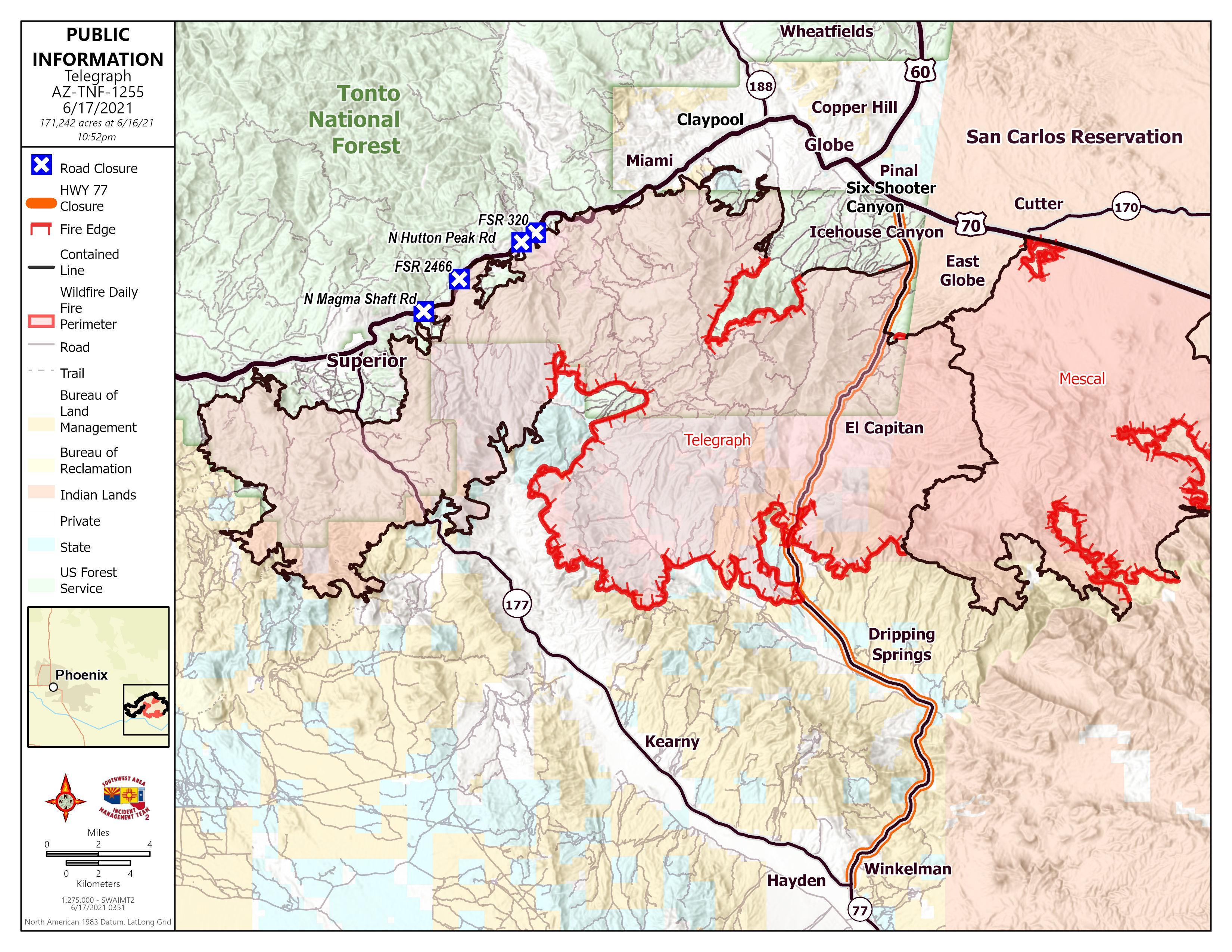 Map showing the perimeter of the Telegraph Fire with contained perimeter in black and uncontained in red