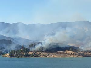 Smoke and Flames on the Castaic Lake Fire