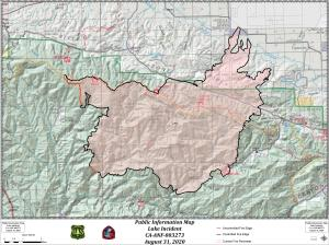 Lake Fire Perimeter Map 8-31-20