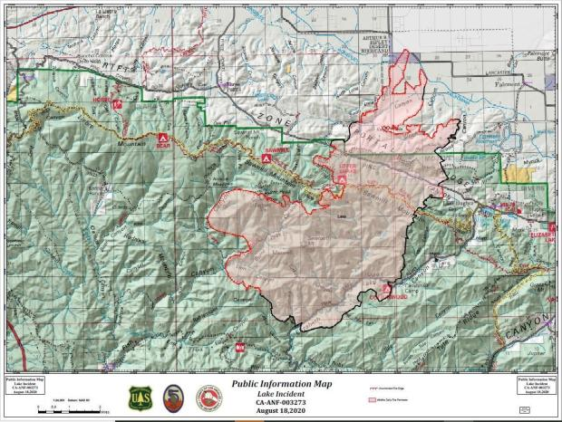 Map shows the current fire perimeter as of August 18 AM