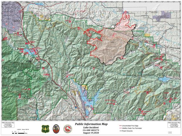 Map shows the current fire perimter of the Lake Fire, August 19, 2020