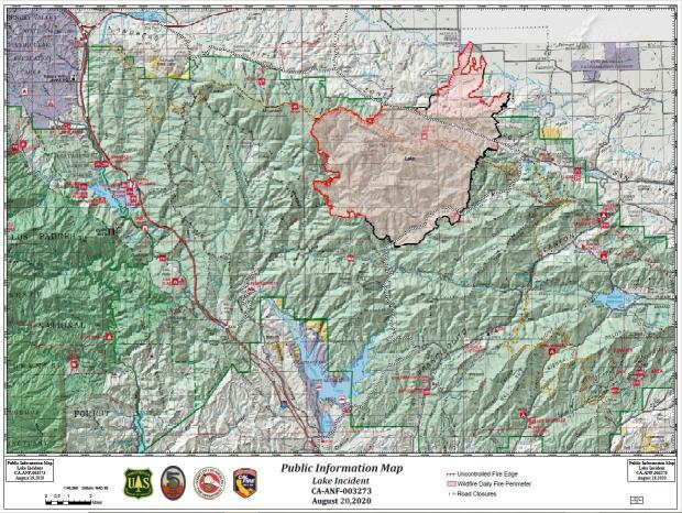 Lake Fire Perimeter Map for August 20, 2020.