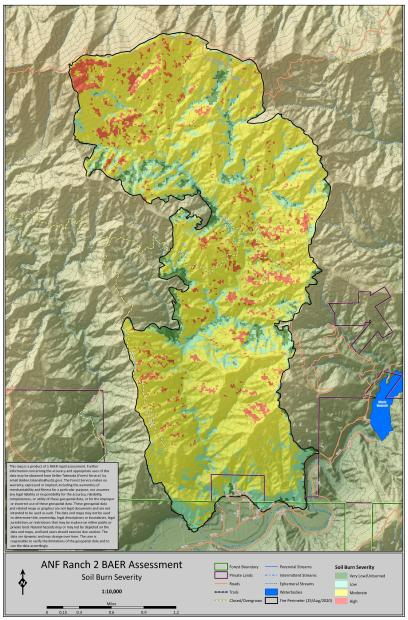 JPG Map showing soil burn severity levels for the Ranch2 Fire