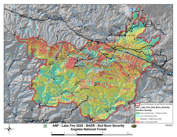 JPG Image Showing Lake Post-Fire BAER Soil Burn Severity Map
