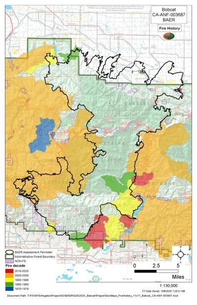JPG Image Showing Fire History Map for Bobcat Fire Area (JPG)