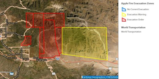 Current Status of Evacuations wihtin Riverside Couny - 08/02 @ 0700hrs