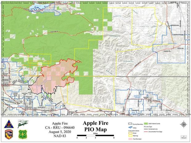 Apple Fire Map for Aug. 5