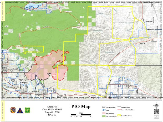 Map of Apple Fire from August 8