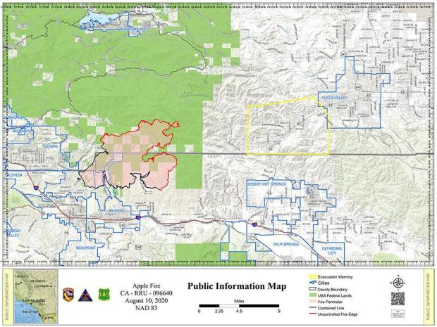 Map of the Apple Fire for August 10