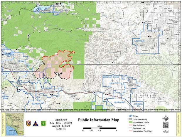 Map of the Apple Fire from August 11