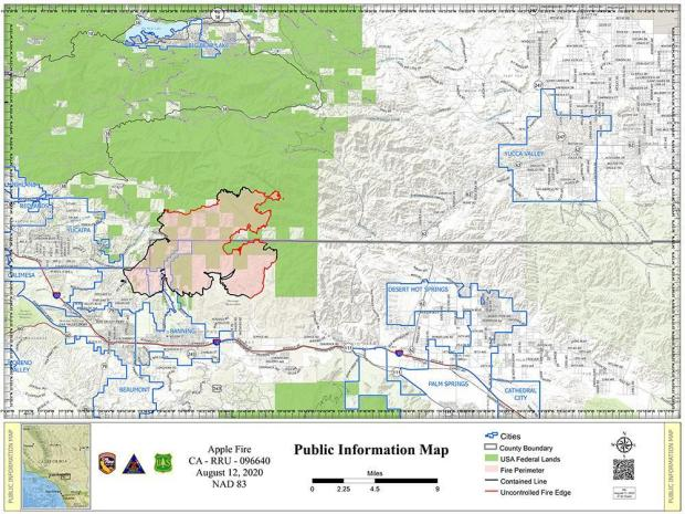 Apple Fire PIO Map for August 12