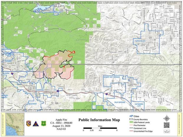 Map of the Apple Fire for August 13
