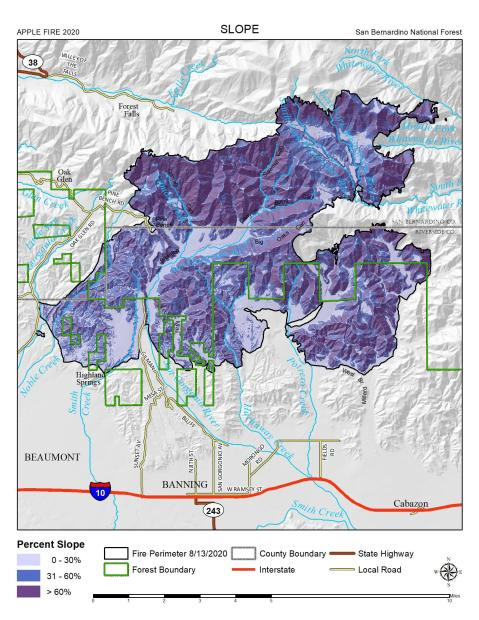 JPG Map Showing Slopes for the Apple Fire