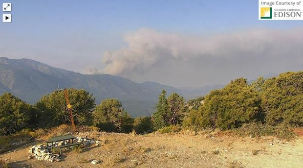 Increased Fire Activity Today on the El Dorado Fire, Smoke column pushing to the west / downslope from upper mountain home creek