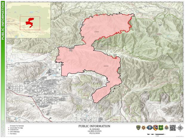 This map shows the current fire premiter of the El Dorado Fire