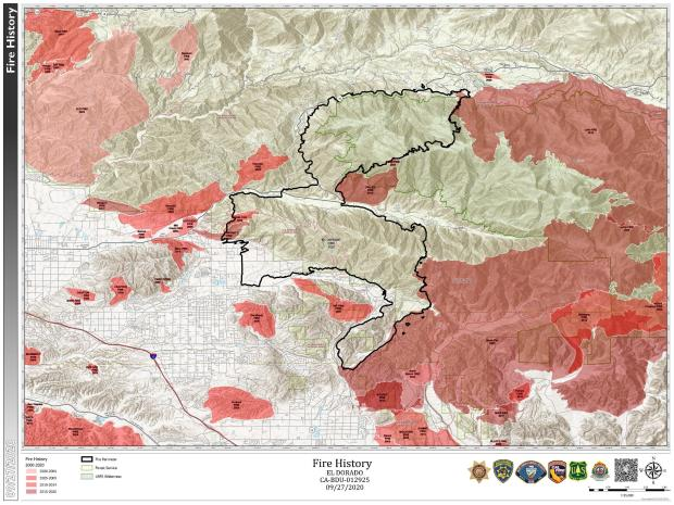 This Map shows previous Fire History in the general area of the El Dorado Fire.