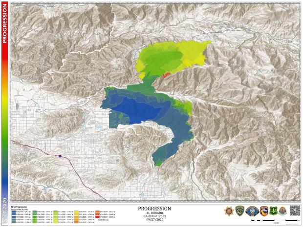 The map shows the incremental fire growth in different colors.