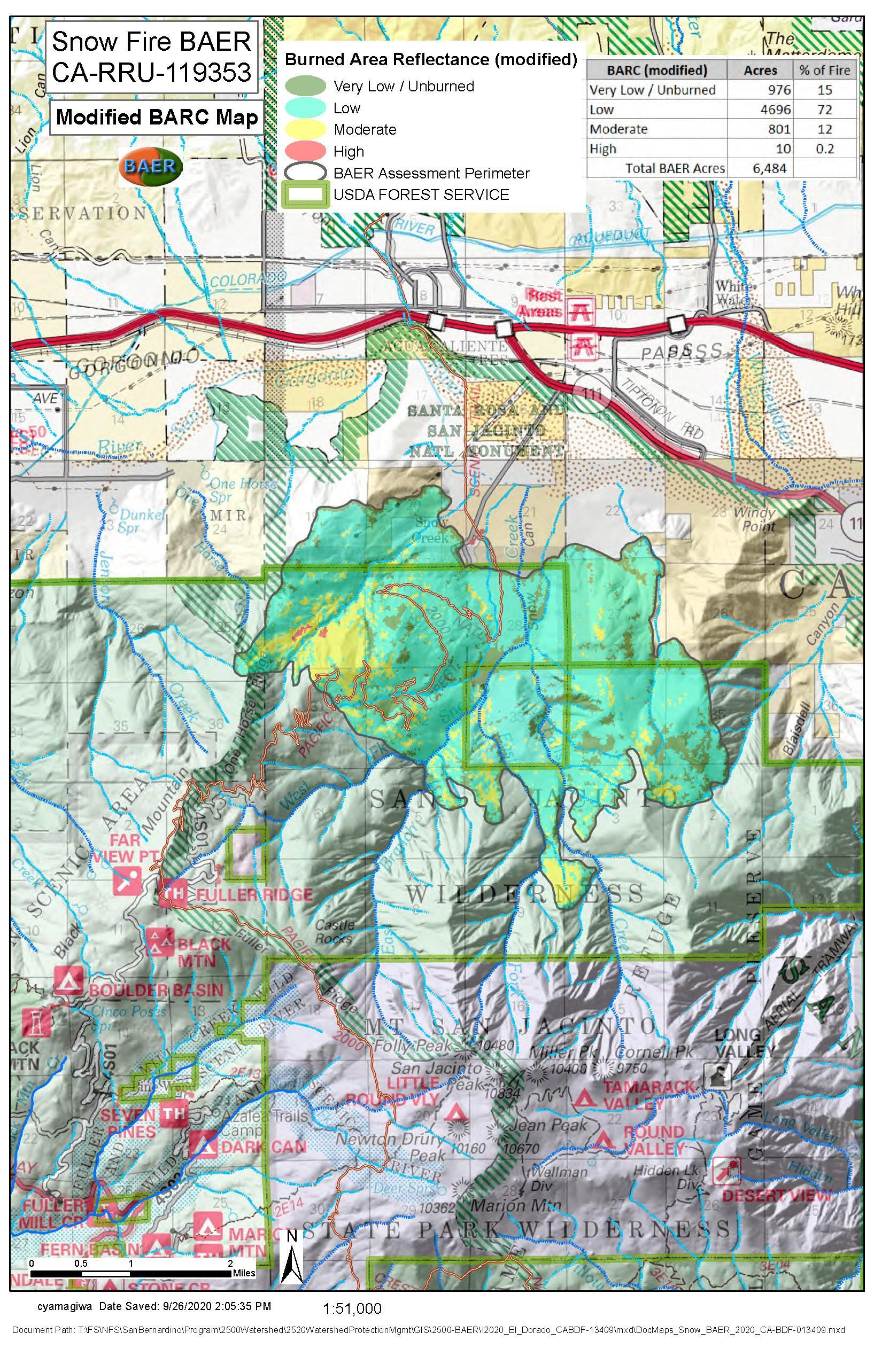 JPG Map Showing Burn Intensity for Snow Fire