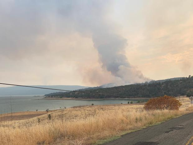 LNU Fire impacting BLM Cedar Roughs Wilderness from the east. (Jeff Tunnell/BLM)